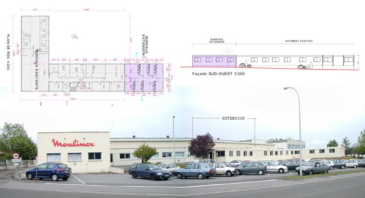Agrandissement d 39 architecte d 39 un batiment industriel pour moulinex e - Construire un batiment industriel ...